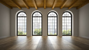 Empty loft room with arc windows 3D rendering royalty free illustration