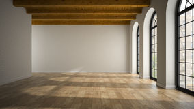 Empty loft room with arc windows 3D rendering Royalty Free Stock Photography