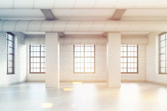 Empty loft room with columns, toned Royalty Free Stock Photos