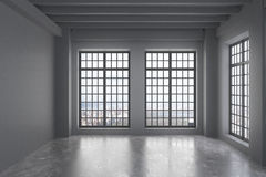 Empty Loft Room With Grey Wall, Big Windows With City View Royalty Free Stock Image