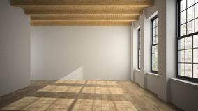 Empty loft room with wooden ceiling 3D rendering Royalty Free Stock Image