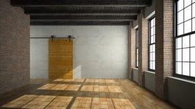 Empty loft room with wooden door 3D rendering Stock Photo