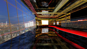 Empty Loft style bar on rooftop in luxury hotel in Bangkok, 3d r Stock Image
