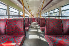 Empty London bus interior. Empty seats on an upper level of a London double decker bus Royalty Free Stock Photo