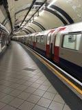 Empty London Underground station with train Stock Image