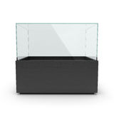 Empty long black showcase with pedestal, Royalty Free Stock Image