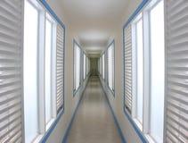 Empty long corridor in hotel Stock Images