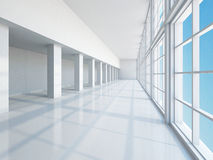 The empty long corridor Stock Photos