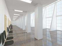 The empty long corridor Stock Photo