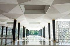 Empty long corridor in the modern building. Stock Photo