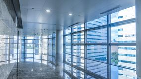Corridor of modern commercial building stock image