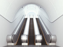 Empty long escalators Royalty Free Stock Photos