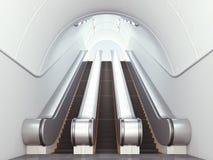 Empty long escalators Royalty Free Stock Photos
