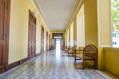 Empty long hallway, Thailand Stock Photo