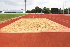 Empty long jump sand pit Stock Photo