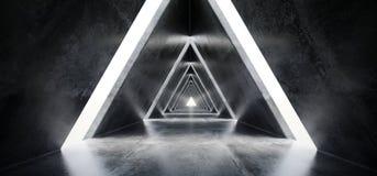 Empty Long Light Polished Concrete Modern Sci-Fi Futuristic Tria. Ngle Shaped Construction Tunnel Corridor 3D Rendering Illustration royalty free illustration