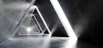 Empty Long Light Polished Concrete Modern Sci-Fi Futuristic Tria. Ngle Shaped Construction Tunnel Corridor 3D Rendering Illustration vector illustration