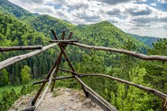 Empty lookout over green forest. Empty lookout over green trees in spring forest at Gaderska valley, Slovakia stock image