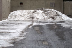 Empty lot with dirty snow pile. Empty lot with gray concrete walls, with a large pile of dirty plowed snow on the far end Royalty Free Stock Photos