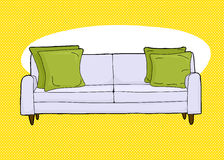 Empty Loveseat Over Yellow Royalty Free Stock Photography