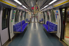 An empty LRT or MRT without passengers in Singapore Stock Images