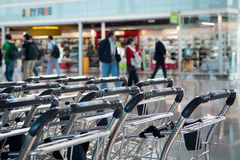 Empty luggage carts Stock Images