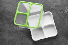 Empty lunch box on table. Top view royalty free stock image