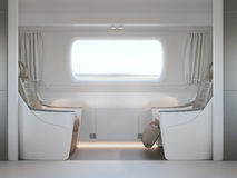 Empty luxury passenger train or bus interior with grey seats. closeup side view, mockup of  tv screen. 3D rendering Royalty Free Stock Photography