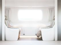 Empty luxury passenger train or bus interior with grey seats. closeup side view, mockup of  tv screen. 3D rendering Royalty Free Stock Image