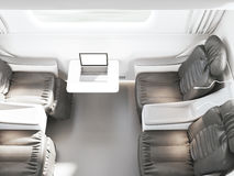 Empty luxury passenger train or bus interior with grey seats. closeup side view, mockup of  tv screen. 3D rendering Stock Image