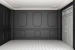 Mock up Empty luxury room interior with black wall on white wooden floor. 3D rendering. Empty luxury room interior with black wall on white wooden floor. 3D stock illustration