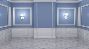 Mock up Empty luxury room interior moulding design with wall on granite tile floor. 3D rendering. Empty luxury room interior moulding design with wall on granite royalty free illustration
