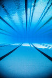 Empty 50m Olympic Outdoor Pool From Underwater Stock Photo