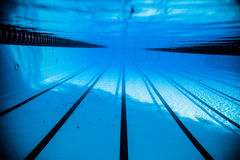 empty 50m olympic outdoor pool from underwater stock image