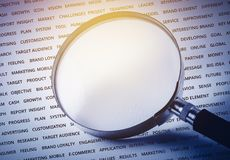 Empty of magnify on business strategy word. For marketing  success concept Royalty Free Stock Images