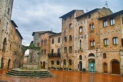The empty main square of San Gimignano, Tuscany