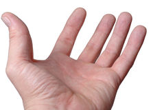Empty male hand, palm upwards Royalty Free Stock Images