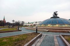 Empty Manege Square and the Kremlin Stock Photos