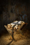 Empty Manger With Cross Shadow Stock Photos