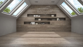 Empty mansard room with shelfs 3D rendering Royalty Free Stock Photo