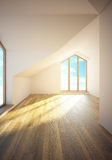 Empty mansard room with windows Stock Photos
