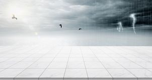 Empty marble floor top with panoramic sky view under sunrise and storm thunder grey sky background. Business concept - Empty marble floor top with panoramic sky vector illustration