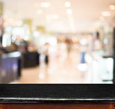 Empty marble table and blur store in background. product display Stock Photos
