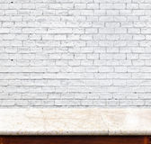 Empty marble table and white brick wall in background. product d. Isplay template Stock Photo