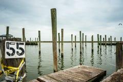 Empty marina at Wachapreague, VA Stock Photo