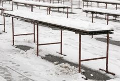 Empty market benches. Empty farmer`s market benches in the winter time in Zagreb, Croatia Stock Photos