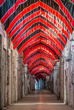 Empty market in Kashan with red and black flags during Ashura. In Iran Royalty Free Stock Photo