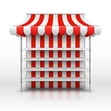 Empty market stall. Kiosk with striped awning vector template. Illustration of market kiosk with awning, retail and store street royalty free illustration