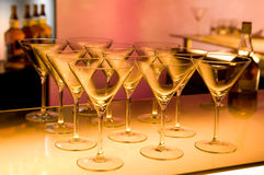 Free Empty Martini Glasses Prepared For Making Cocktail Royalty Free Stock Images - 6406669