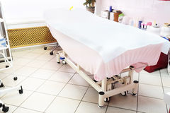 Empty massage bed Royalty Free Stock Images